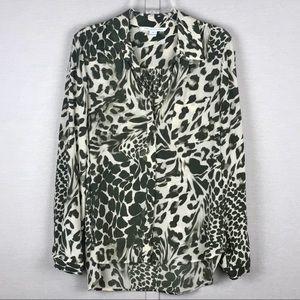 DVF Lorelei Animal Print Silk Button Blouse